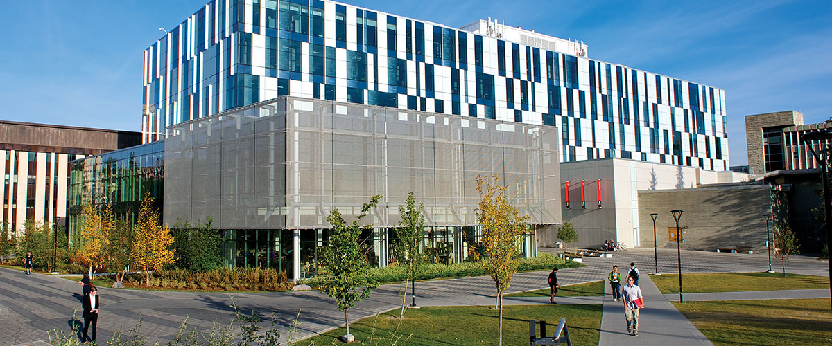 The exterior of the Taylor Family Digital Library at the University of Calgary