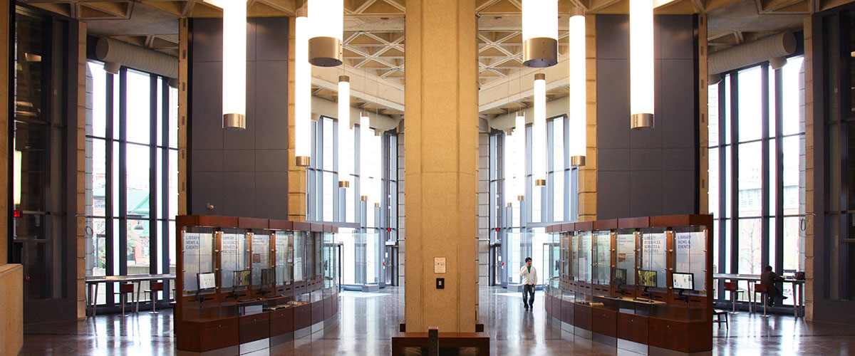 The north-facing pavillion interior of the Robarts Library at the University of Toronto