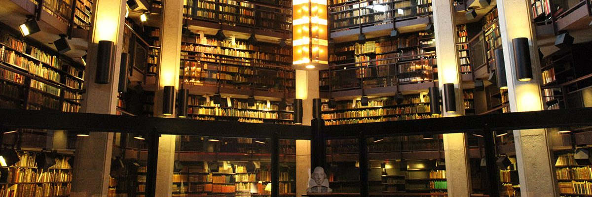 The atrium of the Thomas Fisher Rare Book Library opens to several floors of books and manuscripts at the University of Toronto